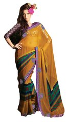 Designer Yellow Georgette Embellished Saree SC1406