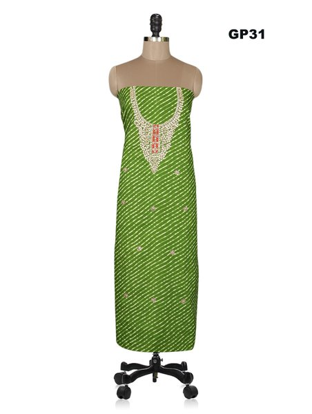 Jaipuri Lehariya Cotton Gotta Patti work Blue Kurti Kurta Fabric GP36
