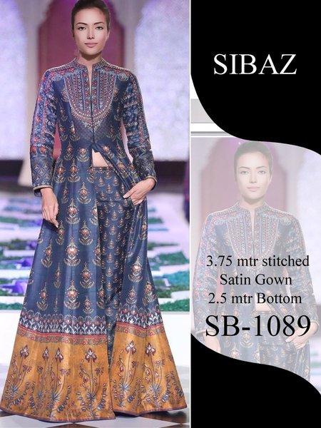Designer Pakistani Replica Pure Satin Digital Printed Long Gown Size XL SB1089