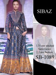 Designer Pakistani Replica Pure Satin Digital Printed Long Gown Size XL SB1089
