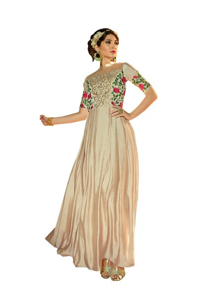 Designer Ready to Wear Cream Slub Satin Silk Embroidered Long Gown Dress Size 42 A419