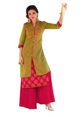 Designer Green Rayon Cotton Kora Silk Layered Embroidered Long Kurta Dress Size XL SCKSD207