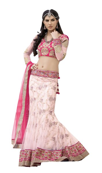 Peach Pink Net Lehenga Choli Dupatta Fabric Only SC1129