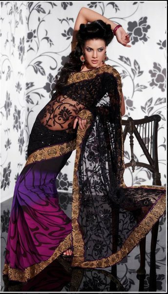 Black Multi Net Georgette Embroidered Saree SCA3620