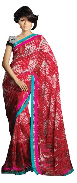 Designer Red Multi Lacer Border Saree SC1407