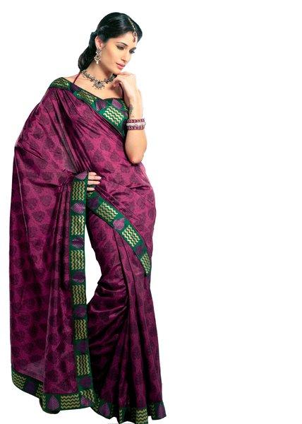Dupion Printed Embellished Purple Saree SC3321