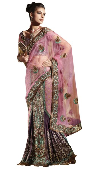 Net Brocade Pink Embroidered Lehenga Saree Sari SC6107