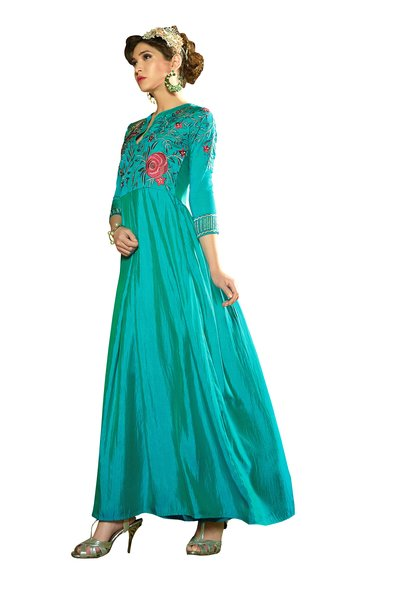 Designer Ready to Wear Turquoise Slub Satin Silk Embroidered Long ...