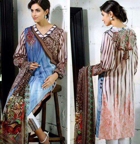 Designer Pakistani Replica Off White French Crepe Printed Dress Material SUR5