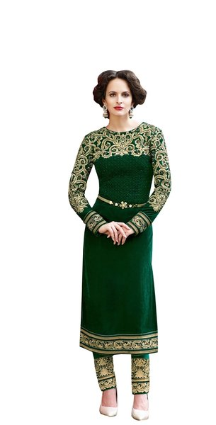Designer Micro Velvet Green Salwar kameez Dress Material SC7277