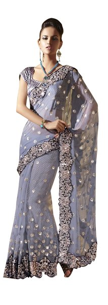 Net and Tussar Greyish Blue Twin Palla Modern Fusion Saree Sari SC6110
