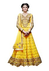 Designer Long Yellow Georgette Anarkali SC309