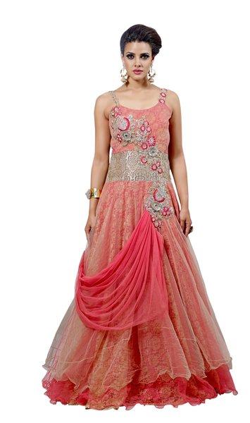 Designer Semi Stitched Western Dress Dusty Pink Net Long Gown SC1049