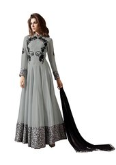 Designer Grey Georgette Embroidered Dress Material With Nazmeen Dupatta M10033