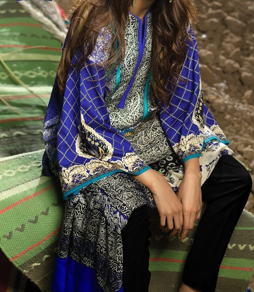 Designer Pakistani Printed Glazed Cotton Blue Pant Style Dress material F4005