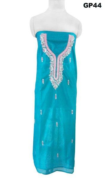 Jaipuri Kundan Hand Work Turquoise Chanderi Silk Kurti Kurta Fabric GP44