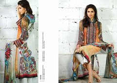 Designer Pakistani Replica Off White French Crepe Printed Dress Material SUR6