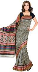 Designer Black Printed Cotton Silk Saree SC4541A