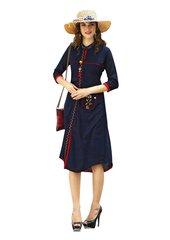 Designer Blue Cotton Printed Long Kurti Kurta Dress Style Size 42 XL SC1009