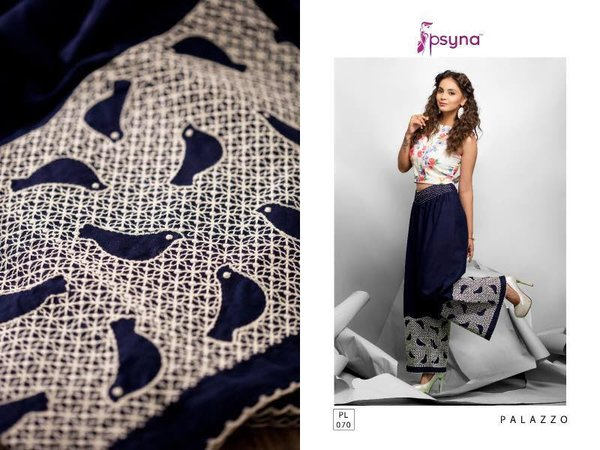 Designer Blue Linen Cotton Embroidered Palazo Pants Free Size P706