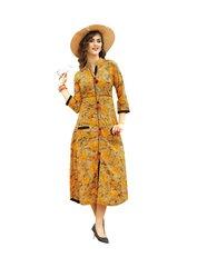 Designer Yellow Cotton Printed Long Kurti Kurta Dress Style Size 42 XL SC1012
