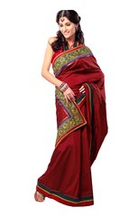 Dupion Embroidered Red Saree SC3307B