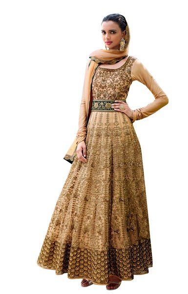 Designer Semi Stitched Beige Fusion Style Net Dress Material