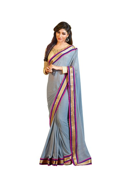 Gray georgette Saree with exclusive blouse fabric SC1007