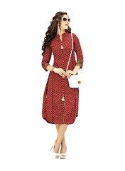 Designer Maroon Cotton Printed Long Kurti Kurta Dress Style Size 42 XL SC1005