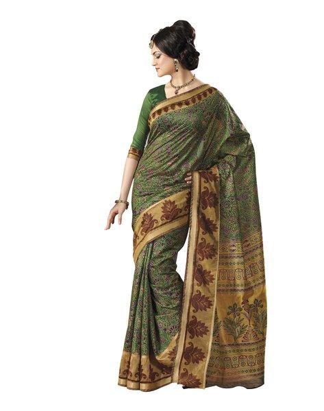 Green Bhagalpuri Cotton Silk Saree SC7241