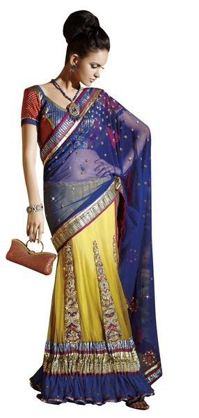 NetBrocade Yellow Blue Embroidered Lehenga Saree Sari SC6124