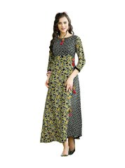 Designer Black Cotton Printed Long Kurti Kurta Dress Style Size 42 XL SC1008