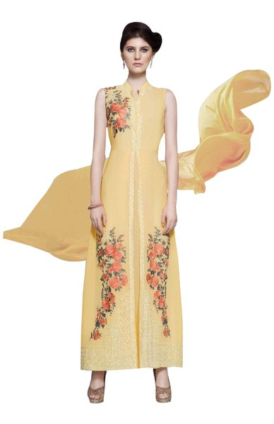 Designer Yellow Georgette Embroidered Dress Material With Chiffon Dupatta B7146