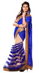 Blue Beige Georgette Saree SC6009B
