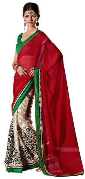 Red off white Embellished Chiffon Georgette saree SC8420C