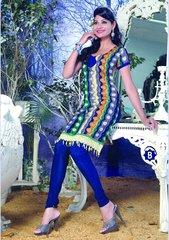 Spun Cotton Multi & Blue Lacer Salwar Kameez Churidar Dress Meterial SC 1059B