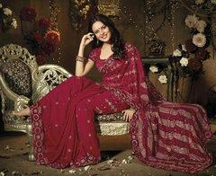 Designer Maroon Schiffli Embroidered Georgette saree SC9020B