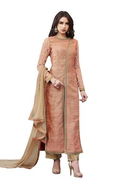 Designer Peach Slub Silk Semi Stitched Dress Material SC3068
