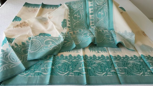 Designer Cream Kota Cotton Embroidered Saree KCS104