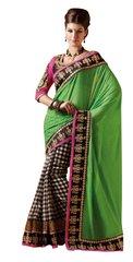 Designer Green Georgette and Chequard Cotton Silk Embroidered Saree SC4011