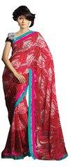 Designer Red Multi Lacer Border Saree SC1407