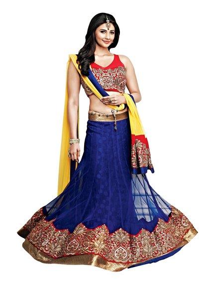 Blue Maroon Net Three Piece Lehenga Choli Dupatta Fabric Only SC2359