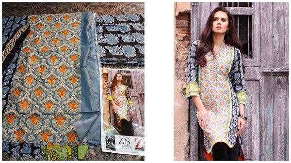 Designer Pakistani Mahi Zara Unstitched Kurti Kurta Embroidered Fabric Only ZS2A
