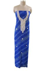 Jaipuri Bandhej Georgette Gotta Patti work Royal Blue Kurti Kurta Fabric GP80