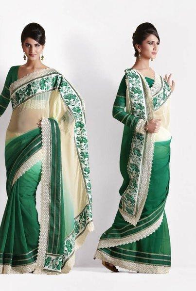 Green Cream Georgette saree SCA25018