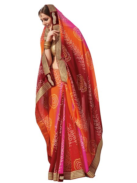 Designer Orange Bandhej Print Embellished Georgette Saree S4809