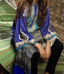 Designer Pakistani Printed Glazed Cotton Blue Pant Style Dress material F4005