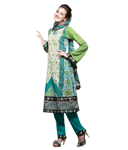 Cotton Turquoise Salwar Kameez Churidar Fabric SC8142C