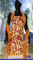 Spun Cotton Orangish Yellow Lacer Salwar Kameez Churidar Dress Meterial SC 1060A