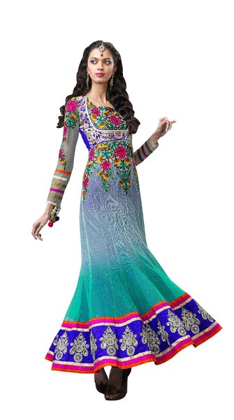 Anvi Creations Turquoise Blue Net Anarkali Dress Material